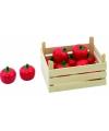 Houten kist met tomaten